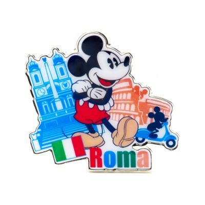 ¡Mira quién anda viajando por el mundo! Este bonito pin representa a la estrella de Disney en la capital italiana, acompañado de una bandera del país y el nombre de la ciudad en letras de colores.