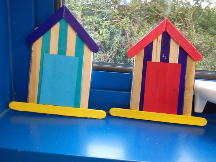 Count out lolly sticks make a pattern write a number on for Beach hut ideas