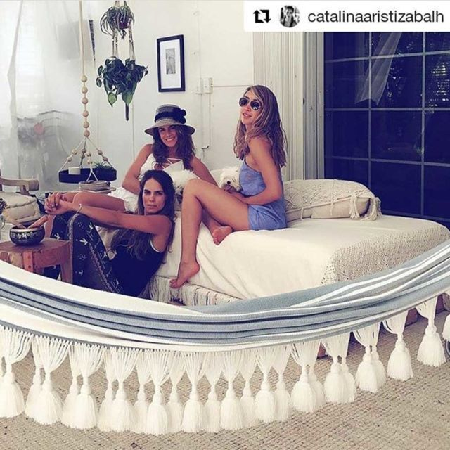 Getting an indoor hammock will create an oasis at home, a space to relax and enjoy, a happy corner that can be glamorous or bohemian. This lovely picture is posted by our customer who lives in Miami.