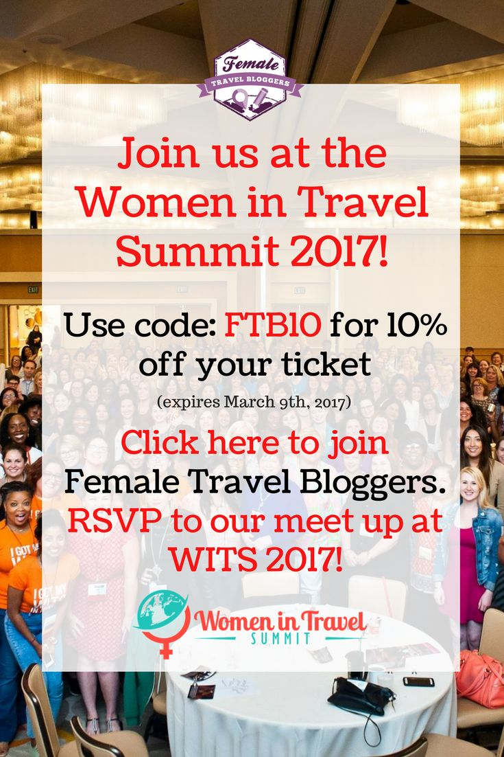 We're SO EXCITED to go to Women in Travel Summit to grow our blogging skills and to network with other women in the travel industry. Use our code: FTB10 when purchasing your WITS ticket to receive 10% off. Join our Facebook group to meet up with female travel bloggers who are also attending the event. *Picture courtesy of WITS*