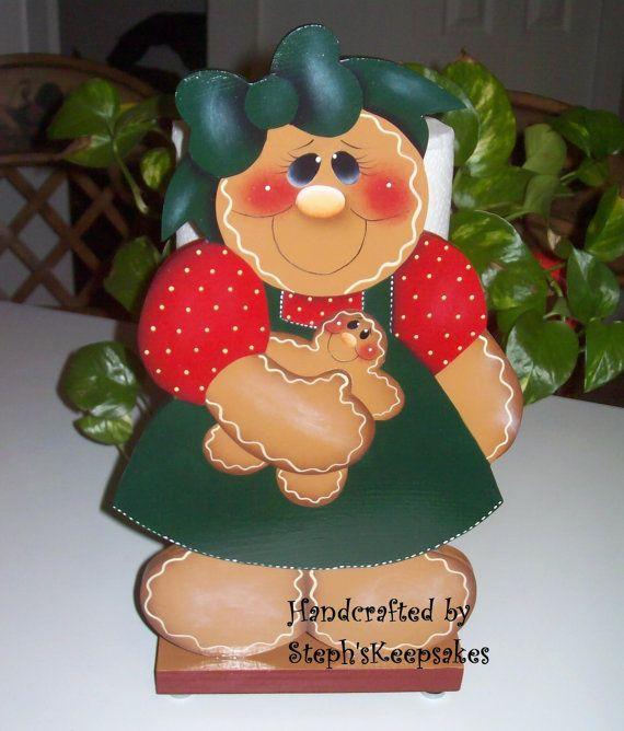 Handpainted Gingerbread Paper Towel Holder by stephskeepsakes, $21.95