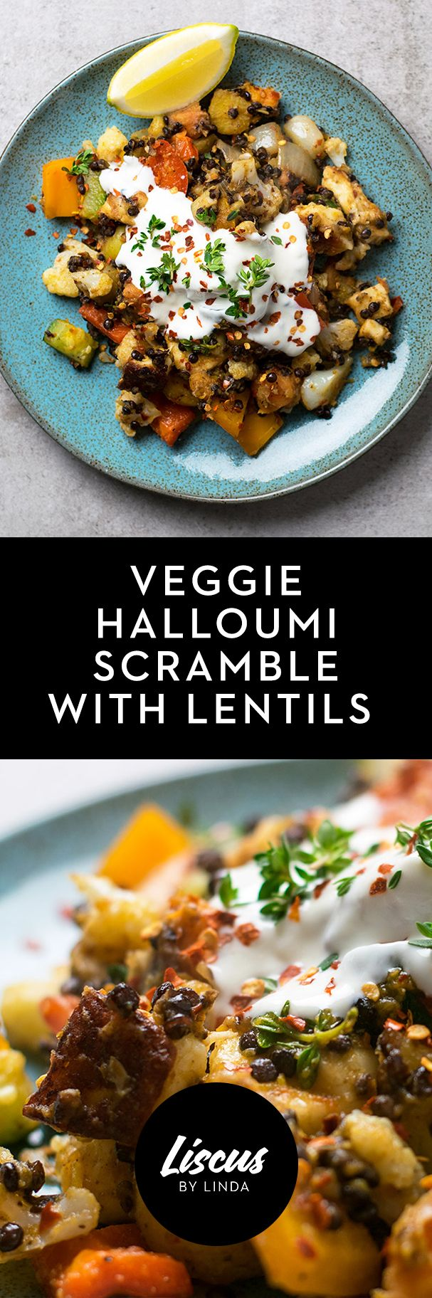 Veggie Halloumi Scramble with Lentils