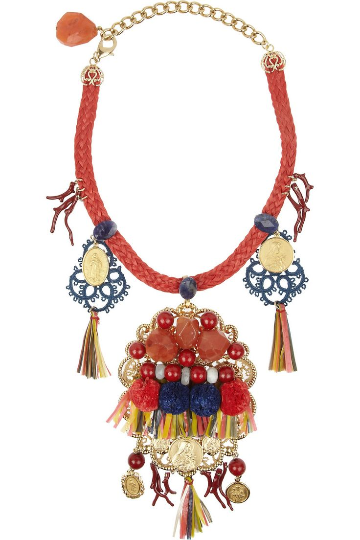 Dolce & Gabbana | Filigrane embellished gold-plated necklace  | NET-A-PORTER.COM