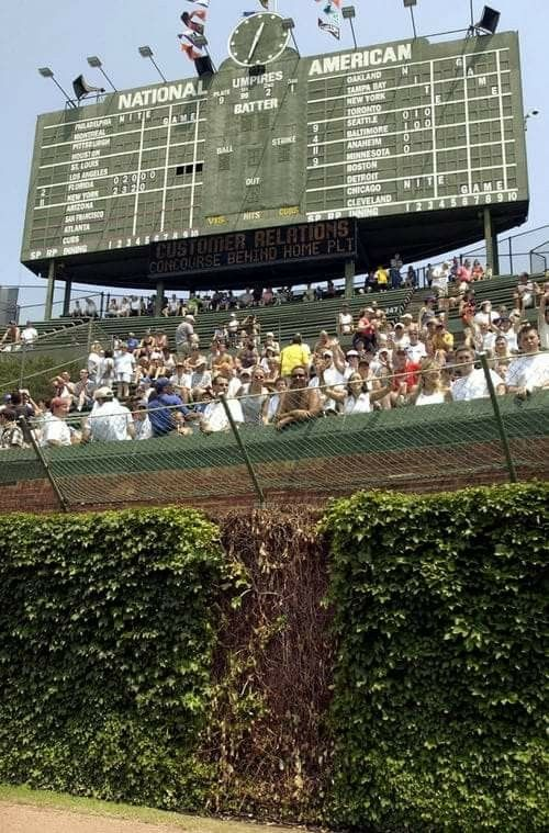 The scoreboard at Wrigley......