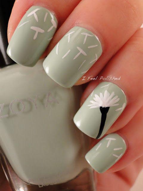 dandelion manicure, just the cutest #manicure #nail #polish http://www.ifeelpolished.com/2013/04/dandelion-nails.html