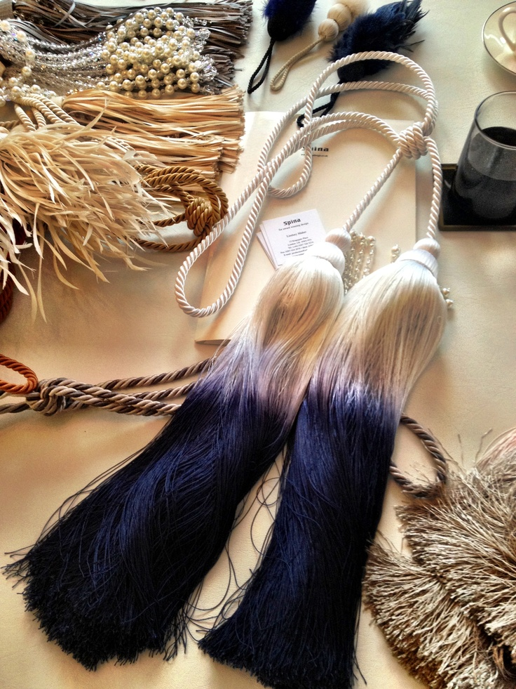 Spina HQ yesterday, and I spotted these tassles, dip dyed to the Martell Blue for an exhibit at Harrods...