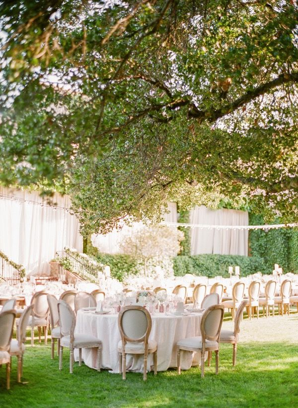 backyard wedding venues in orange county ca%0A Set in California u    s wine country this al fresco wedding photographed by KT  Merry includes a soft palette of pink  ivory and mint with Grecianstyle  details