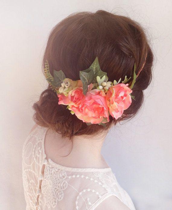 Flower crown wedding, coral wedding, coral flower headband, floral headpiece, head wreath, pink floral crown, bridal flower crown, peony