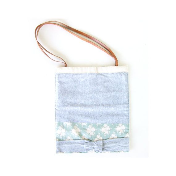 Canvas tote bag cute bag leather strap bag girl by AlfaHandmade
