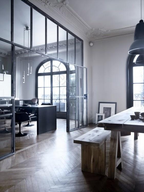 stalen deuren Crittal style windows/room divider