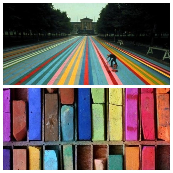 Creating Stripes //  Franklin's Footpath by Gene Davis /  Philadelphia Museum of Art /  photo : Henry Groskinsky, 1972 ///  Pastels /  photo via gypsybeachqueen.tumblr.com//