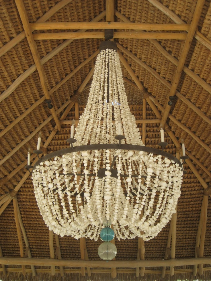 Fabulous seashell Chandelier!!  A use for all those Hilo Hattie shell leis!!