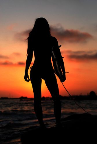 luv this..looking out at the sunset and waves after a killer ride looking hot in my bikini.