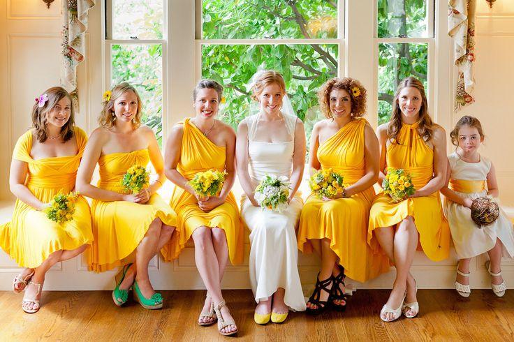 yellow bridesmaid dresses   Bright Yellow Short Bridesmaid Dress