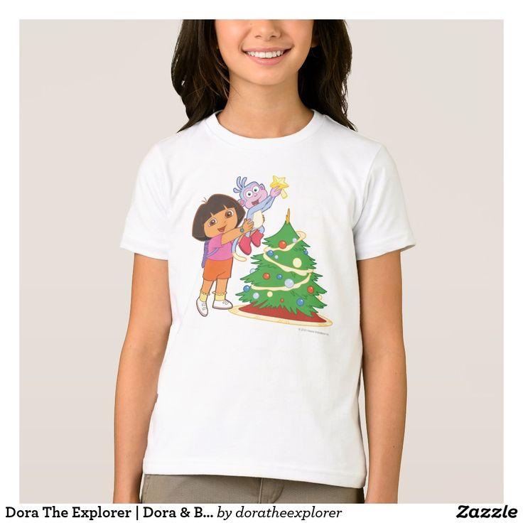 Dora The Explorer   Dora & Boots Decorate a Tree. Producto disponible en tienda Zazzle. Vestuario, moda. Product available in Zazzle store. Fashion wardrobe. Regalos, Gifts. #camiseta #tshirt