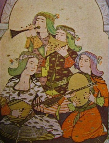 A group of girl musicians Topkapı Palace Museum, Istanbul, Turkey Source: Süheyl Ünver, Ressam Levni Hayatı ve Eserleri, Milli Eğitim Basımevi, İstanbul 1969