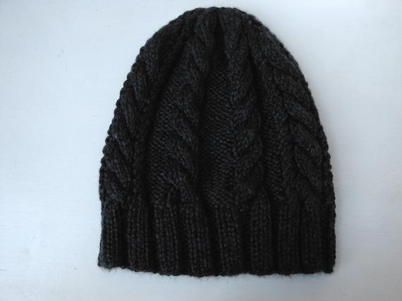 0a39453d86a Men cable hat 100% acrylic charcoal CARA adult cap