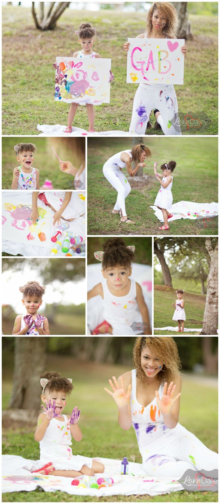 "Creative Finger Painting Mother and Daughter ""Mommy and Me"" Family Photo shoot. Photo shoot ideas, Outfit inspiration for family photo shoots, South Florida Photographer, Love Daley Photography"