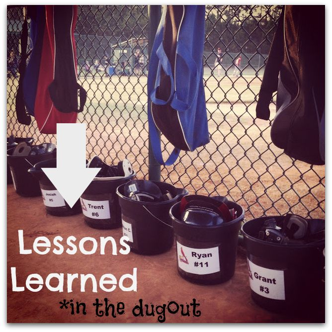 Lessons Learned in the Dugout Our team does this and it works! things don't get lost and they sit in there spot.