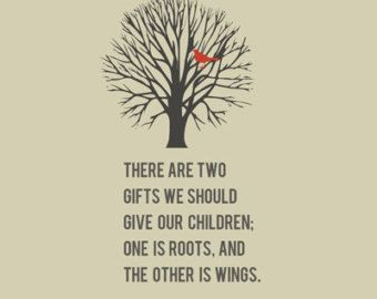 Roots & Wings Quote 8x10 art print Free by shopcocoprints on Etsy