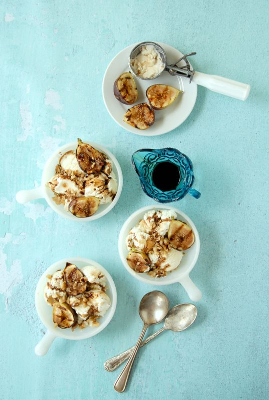 Grilled Figs, Walnuts with Honey-Mascarpone Ice Cream with Balsamic R ...
