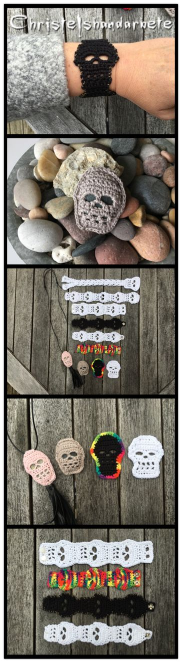 Virkade döskallar som armband, bokmärke, halsband och dekoration. Crochet skulls as bracelet, neclace, bookmark and decorations.