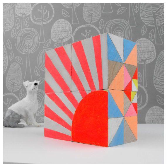 Ornament Geometric Neon Art Blocks x 4 by SketchInc on Etsy, £35.50