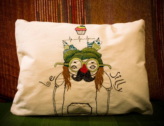 Stitch drawing - Decorative Embroidered pillow, artistic home decoration,100% cotton canvas *Be silly*