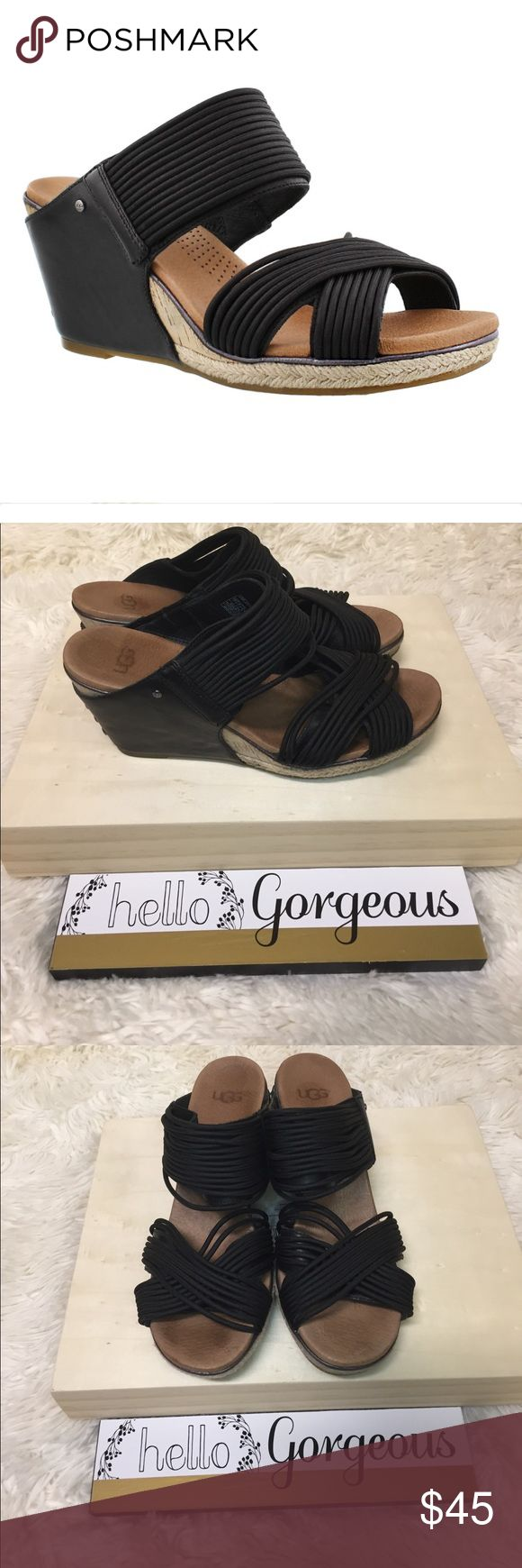 Womens Ugg Hilarie Black wedge slide sandals 7 Womens Ugg Hilarie Black wedge slide sandals size 7. Slip on construction elastic and leather upper jute and cork wrapped midsole insole cushioning poron foam with added arch support. UGG Shoes Sandals
