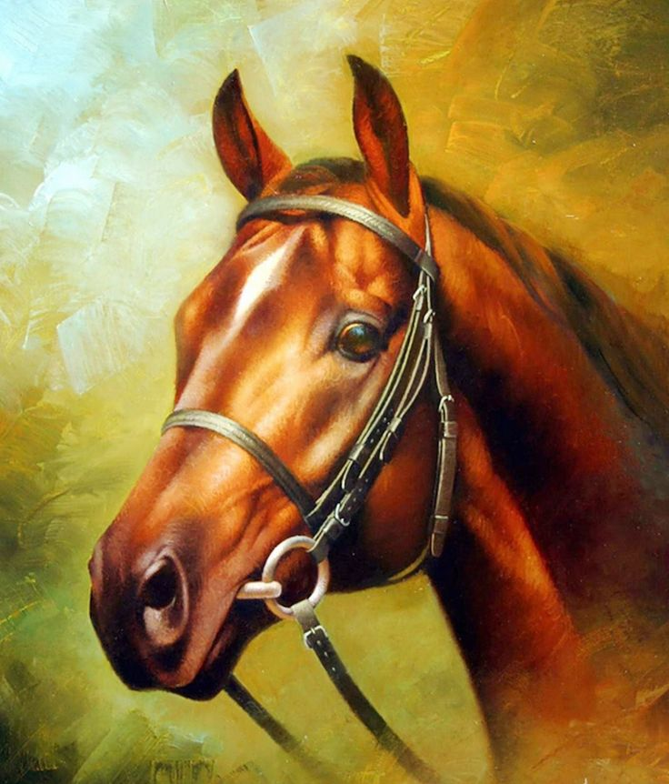 Pintura Moderna al Óleo: Caballos, Pintura Artística al Óleo de ...