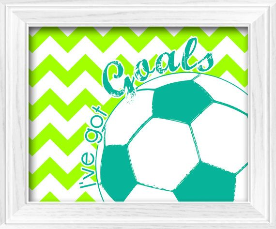 Chevron Soccer theme I've Got Goals Lime Green & Turquoise bedroom Wall Decor printable digital download on Etsy, $6.50