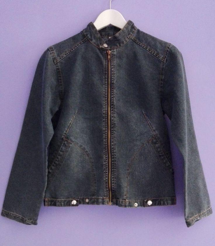 GIACCA giubbotto jeans denim M 42 band jacket BLU donna blazer CINTURINO coreana