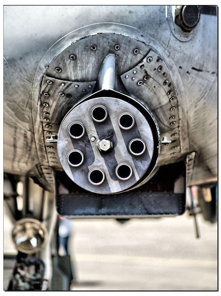 A-10 Thunderbolt Cannon. 30mm GAU-8 Avenger automatic cannon. 3900 depleted-uranium rounds per minute (70 rounds per second). Mounted aboard a Warthog A-10 aircraft (2003).