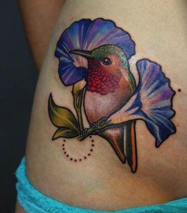 Colorful bird Tattoo with flowers   #Tattoo, #Tattooed, #Tattoos