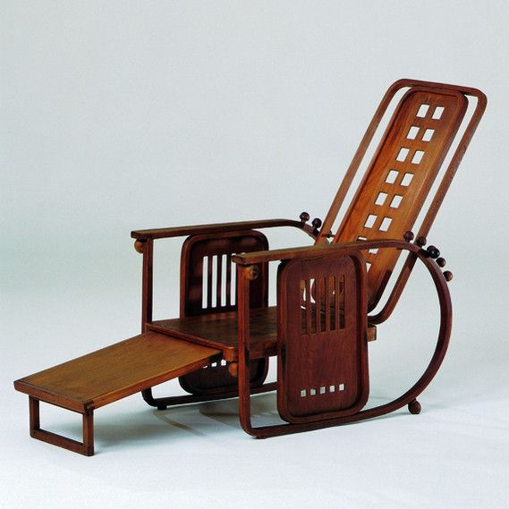 Josef Hoffmann Design: about 1905  Production: c. 1905-16  Manufacturer: Jacob  Josef Kohn, Vienna  Size: 106 x 67.5 x 90; seat height 27 cms  Material: bent beechwood, turned wood,  plywood, brass