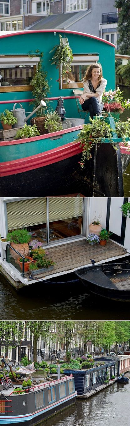 Mode Of Transportation| Serafini Amelia| Houseboat Living-Gypsy Houseboat| Canal houseboats in Amsterdam - swoon!