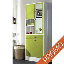 Armoire de salle de bain avec bac à linge et armoire à pharmacie fermant à clé. Existe en blanc, vert aubergine et taupe.