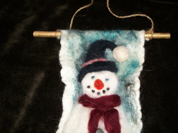 Needlefelted Snowman by BeyondNaturesGate on Etsy, $15.00