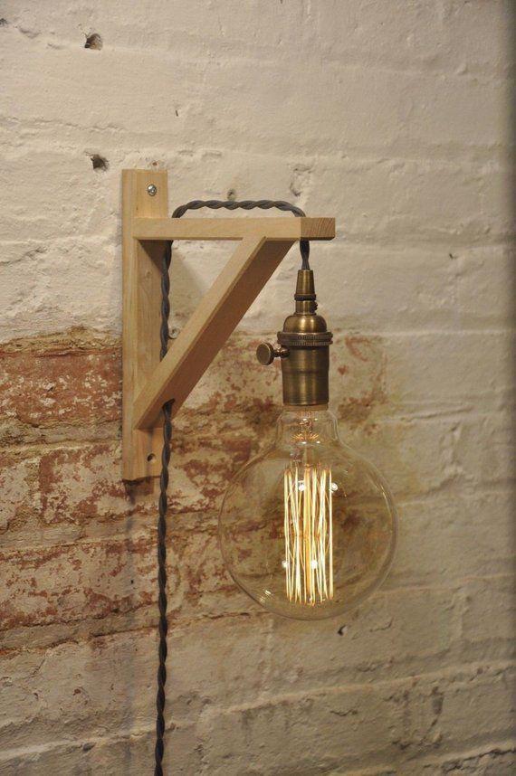 Wand Wandleuchter Messing Antik Birke Holz Lampe Industrielle Retro Vintage Solid In 2020 Wood Light Lamp Light Wood Lamps