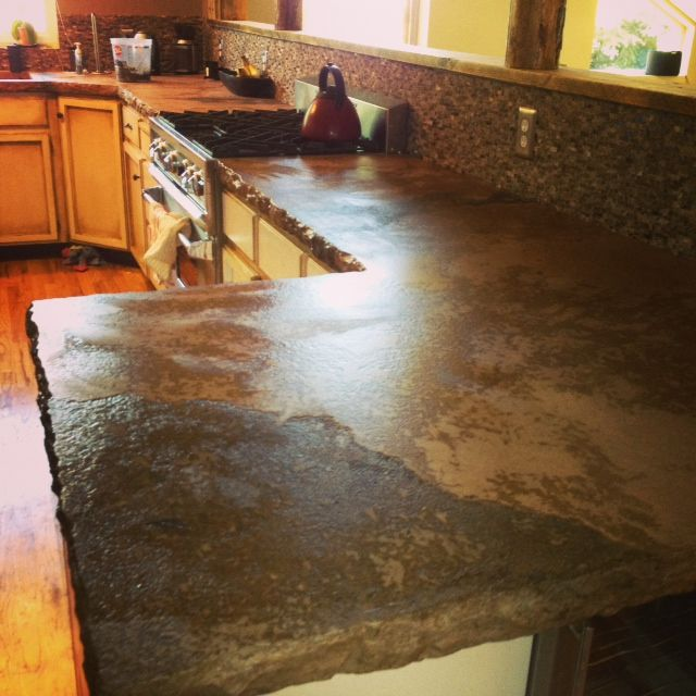 Beautiful Texture In Concrete Kitchen Countertop.