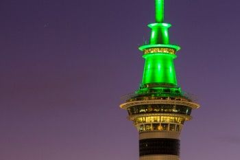 The sky tower at dusk, Auckland CBD, New Zealand. - Buy this print | Box of Light - Surf + Lifestyle + Mountains