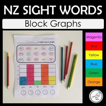 47 graph templates using NZ sight words from the Magenta to Orange levels. Students circle the words, colour the graph and write the number in the circle below. A great way to cover literacy and numeracy at the same time. The graphs progress in difficulty: