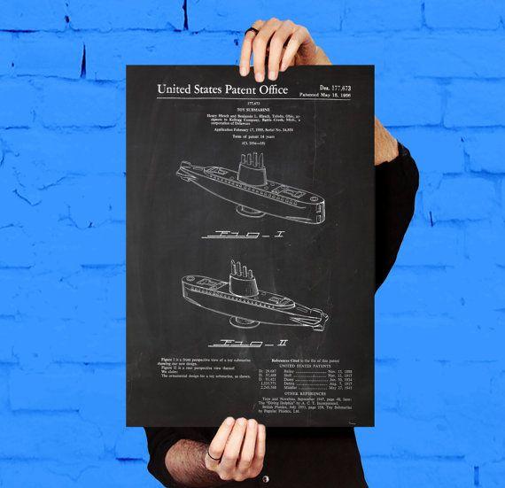 Brevet sous-marin jouet, jouet sous-marin affiche, impression sous-marin jouet, jouet sous-marin Art, décor sous-marin jouet