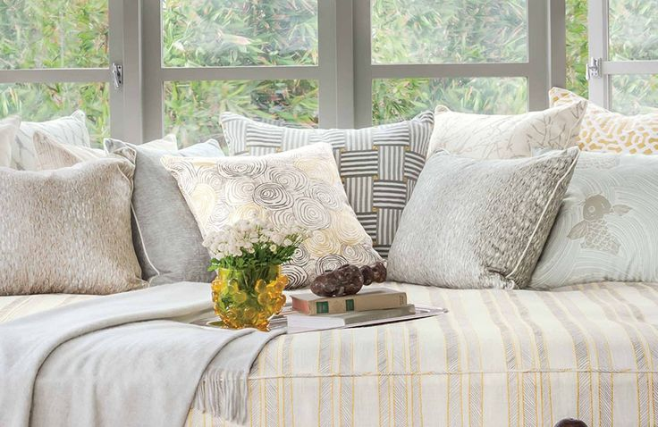 Waterside by Baker Lifestyle #interior #fabric #neutral #cushions