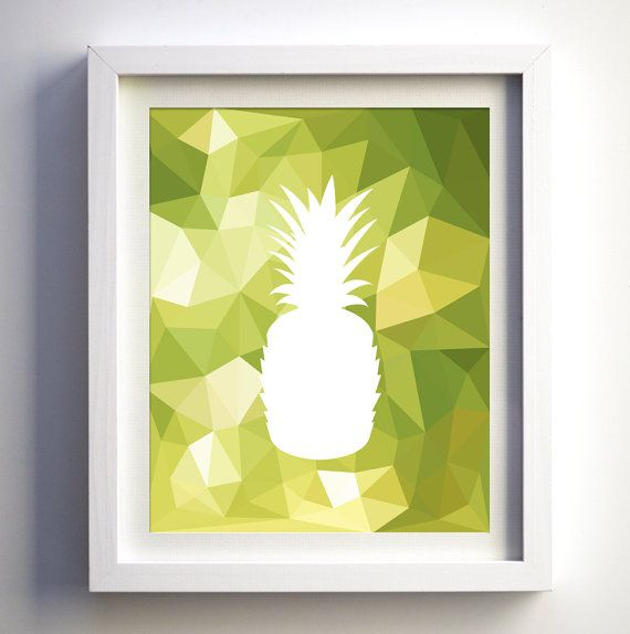 Pineapple Kitchen Print Modern Kitchen wall decor restaurant art poster minimalist fruit modern geometric print polygonal geometric fruit Pineapple Kitchen Print Modern Kitchen wall by FancyPrintsforHome