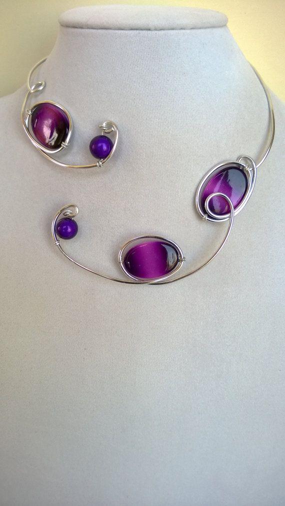 Statement necklace Aluminium wire necklace   by LesBijouxLibellule