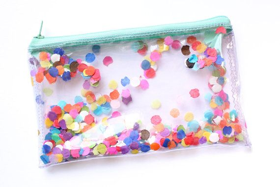Confetti party, Transparent handbag, Clear bag, Pencil case, Zipper pouch
