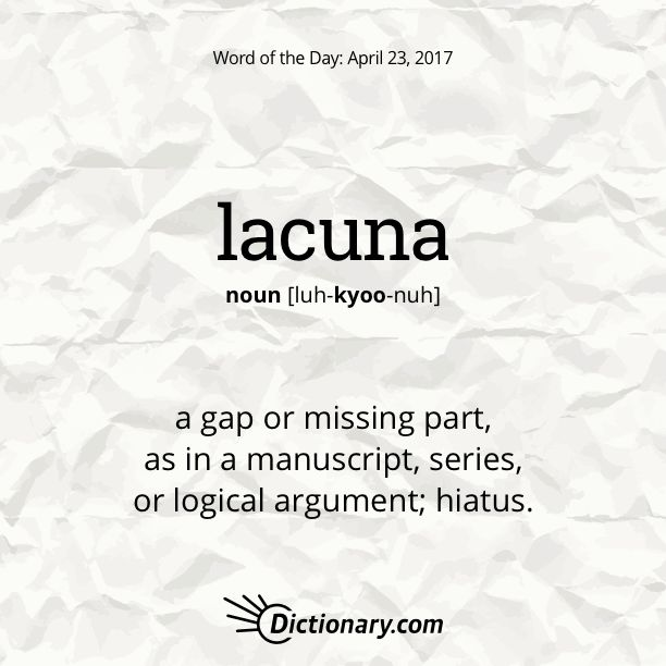 Dictionary.com's Word of the Day - lacuna - a gap or missing part, as in a manuscript, series, or logical argument