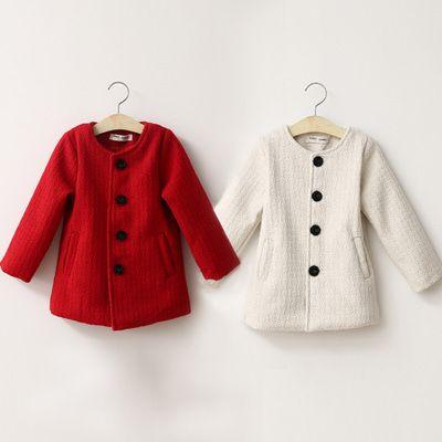 Barato Frete grátis 2015 new outono Crianças outerwear menina casaco de Ovelha casaco de lã único breasted o pescoço vermelho cor branca, Compro Qualidade Lã e Mesclas diretamente de fornecedores da China: tamanhocomprimento (cm)peito (cm)ombro (cm)manga (cn)100 (7 #)45302434110 (9 #)48322537120 (11 #)51342640130 (13 #)54362