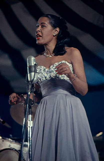 Billie Holiday 50s strapless dress blue floral white flowers gown long color photo print ad singer star model